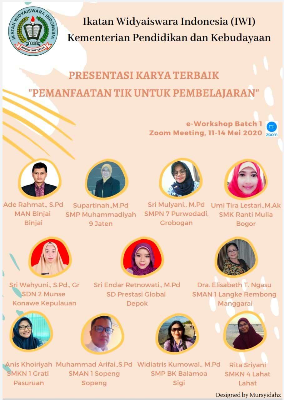 Guru Sekolah Prestasi Global masuk katagori Presentasi Karya terbaik di Ikatan Widyaiswara Indonesia (IWI)