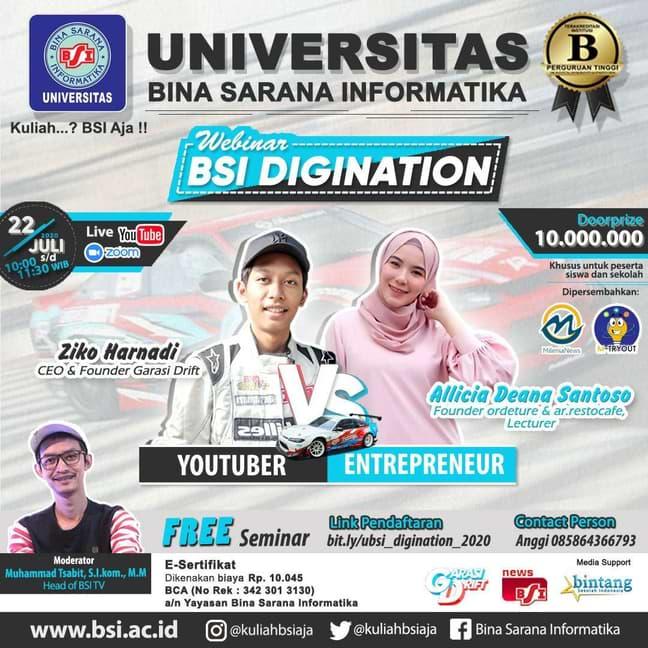 Entrepreneur Muda, vs Youtuber di Webinar UBSI